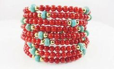 Coral and Turquoise Memory Wire Bracelet