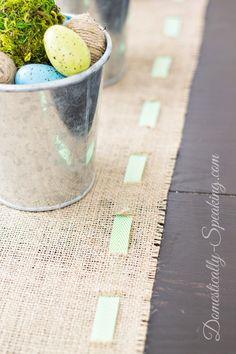 Spring Runner: Burlap and Green & White Chevron Ribbon #spring #burlap #ribbon #tablerunner