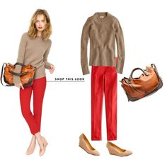 Those red pants again. fall style, cloth, color combos, j crew, camels, jcrew, closet, skinny pants, red pants