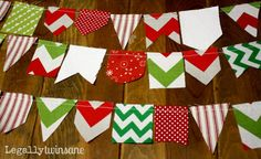 Bunting banner scrap Christmas red green white by LegallyTwinsane, $13.00