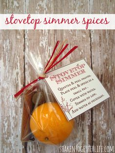 Citrus and fragrant spices to simmer on the stove are a thoughtful gift!  Grab the free printable tags at shakentogetherlife.com