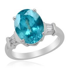 Liquidation Channel | 14K White Gold Paraiba Apatite and Diamond Ring