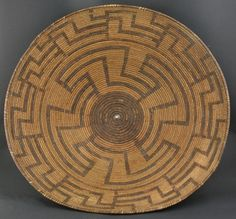 Akimel O'odham use Devils Claw, willow and Bear grass. The maze is a common motif and depicts the journey through life with the center representing the dreams and goals of life.