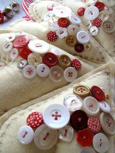 red and white hearts with buttons