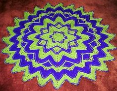 6-12-24 point round ripple afghan done in front post double crochet