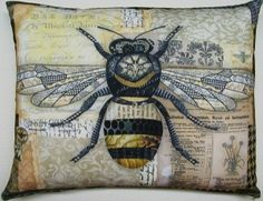 ≗ The Bee's Reverie ≗ bee pillow southern hospitality, bee pillow, outdoor fabric, indoor outdoor, art, outdoor pillow, collag, cushion, southern homes