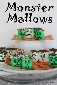 Monster Mallows! #halloween #trickortreat #holiday #food #inspiration #idea #candy #snack #party