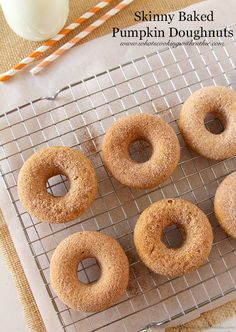 Skinny Baked Pumpkin Doughnuts are just what youve been craving this fall! by www.whatscookingwithruthie.com #recipes #pumpkin #dessert