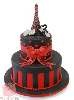 Parisian Themed 33rd birthday cake in dark red and black