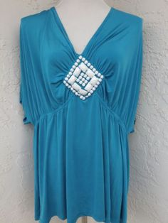 Torrid-plus-size-3-22-24-blue-embellished-v-neck-sexy-tunic-top