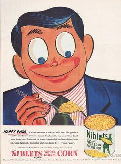 Now that is one happy vintage corn eating camper! :D #vintage #corn #food #ad #niblets #1940s #vegetables