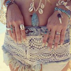 Hippie beach attire, shell, summer styles, fashion, boho gypsy, beach resorts, summer beach, random stuff, lace shorts