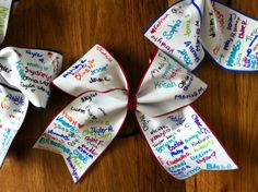 Autograph Cheer bow, fun idea for end of season cheerleading ideas, girls bows, cheer idea, senior gifts, cheer hair, cheerleading sign ideas, hair bows, cheer camp, cheer bows ideas