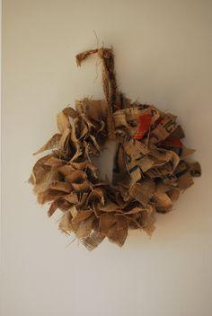 Burlap Wreath Large Coffee Bean Bag by KelfDesign on Etsy, $32.00