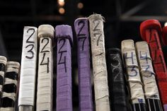 Players decorated their sticks with lavendar tape for The Florida Panthers' #HockeyFightsCancer Awareness night.