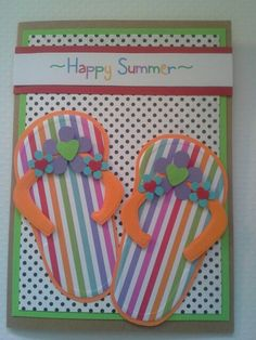 Summer flip flop card handmade by dalayney from chucklesandcharms on etsy. Dry embossed flip flops using the doodlebug paper line.
