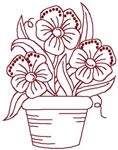 Image Detail for - Redwork Potted Flowers | Machine Embroidery Design