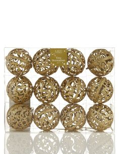 12 Gold Christmas Tree Baubles