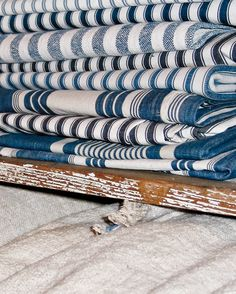 vintage blue ticking fabrics