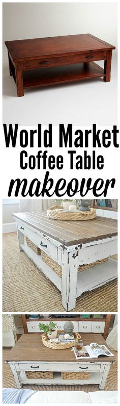 World Market coffee table makeover- LOVE!