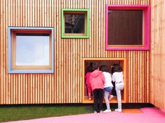 New Building for Nursery and Kindergarten in Zaldibar, Spain   colourful box windows are set at alternating heights