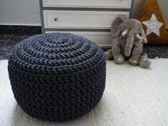 Dark Gray Crochet Pouf  Charcoal Crochet Floor by LoopingHome, €58.00