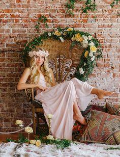 Blush Joanna August bridesmaid dress + Erica Elizabeth Designs silk flower crown