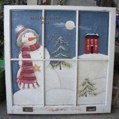 """Vintage Window that I painted. It's a Renee Mullins """"Plum Purdy"""" design."""