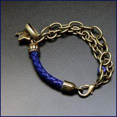 Pulsera cuero trenzado y cadena