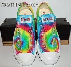 Converse Tie Dye Shoes  hand dyed and custom made  by 1GreatThing