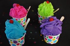 little girls spa birthday party at home | Unique Girls Spa Party Bath Puff Sundae Favor filled with Nail Polish ...