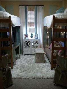Love, love, love this dorm layout. Even do chairs or bean bags under one bed if cant afford a couch