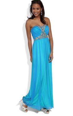 Strapless Long Prom Dress with Stone Babydoll Bodice