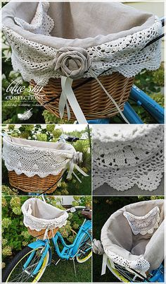 Beautiful linen and doily basket...love the doily pocket