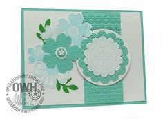 "Stampin UP: Flower Shop & Punch; Petite Petals & Punch; Leaves - Bird Punch; Sentiment ""Happy Birthday Wishes""; Square Lattice Embossing fol..."