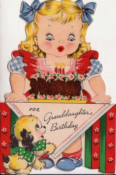 birthday card, happy birthdays, greet card, birthday greetings, vintag card, granddaught birthday, greeting cards, hallmark cards, happi birthday