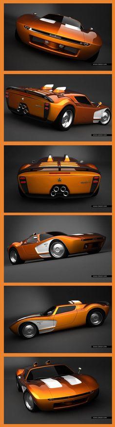 ♂ Orange Aurora GT Concept Car #LuxuryCars #VintageCars #SportCars #ConceptCars
