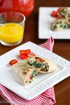Scrambled Egg Wrap with Spinach, Tomato & Feta Cheese...This is fantastic for on-the-go breakfasts. | cookincanuck.com #recipe #healthy