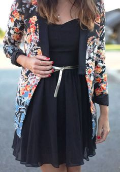 Casual Black Chiffon Dress With Floral Over Coat