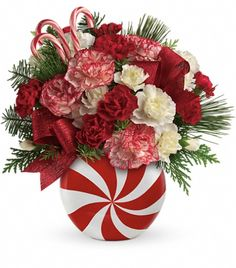 holiday, christma bouquet, flower bouquets, peppermint christma, candi, candy canes, bouquet flowers, arrang, christmas flowers