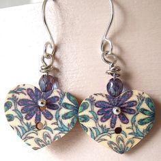 Button Earrings  Sweet Wooden Hearts Blue by Plumbeadacious, $10.00