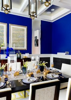 Interior Decor -- 2014 Trending Color Dazzling Blue dining room #PinningforPrizes #PantoneSpring2014