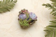 Hot Pink w/Purple Floral Heart Focal Bead - Handmade Glass Lampwork Bead - 11804205