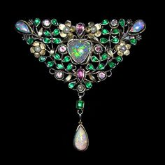 Arthur & Georgina Gaskin, silver with gold florets, opals, pink tourmalines, green paste leaves, pearls