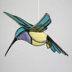 3D Hummingbird Stained Glass Bird Suncatcher- NEW Color. $30.00, via Etsy.