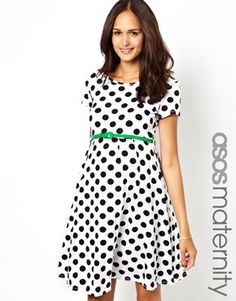 ASOS Maternity Exclusive Spot Skater Dress With Belt