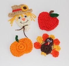 Fall Crochet Scarecrow, Apple, Pumpkin, and Turkey Appliques