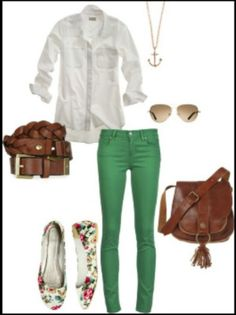 Cute spring outfit-green pants and floral ballet flats are cute! St. Patty's Day!