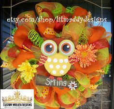 Orange Spring Owl Mesh Wreath. $95.00, via Etsy.