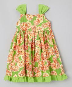 Love this Lime & Orange Citrus Ruffle Dress - Toddler & Girls by Moo Boo's on #zulily! #zulilyfinds